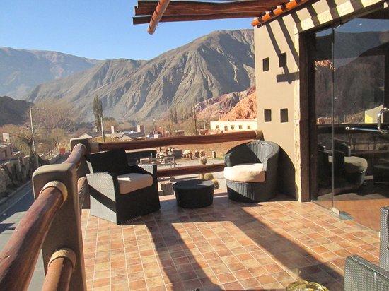 vistadesdelaterraza Casa de adobe Cabañas Purmamarca Jujuy