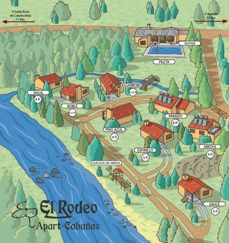 mapa El Rodeo Apart Santa Rosa de Calamuchita - Cabañas.com